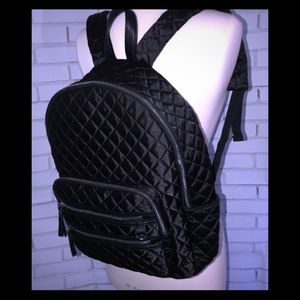 Candies black satin quilted backpack